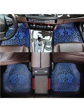 Fashion Blue Cartoon Soles Pattern 3D Effect Popular Universal Car Carpet