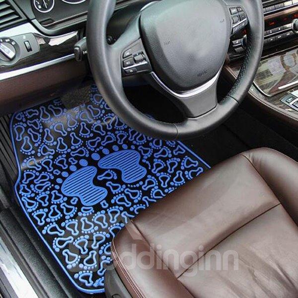 Fashion Blue Cartoon Soles Pattern 3D Effect Popular Universal Car Carpet