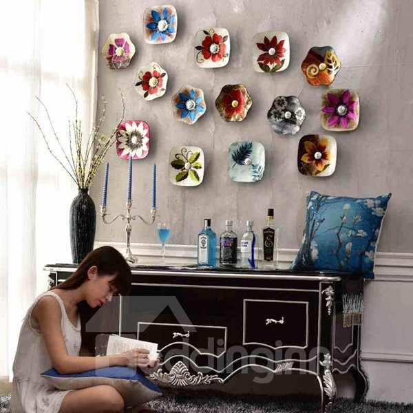 Country Style Glass Flower Pattern Hanging Dish Decor 3D Wall Stickers