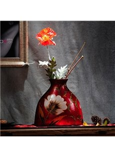 Red Exquisite Ceramic Flower Pattern Desktop Decoration Flower Vase