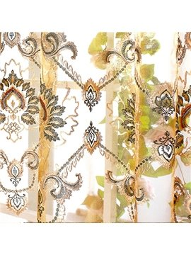 Luxury Golden Damask Embroidery Custom Sheer Curtain