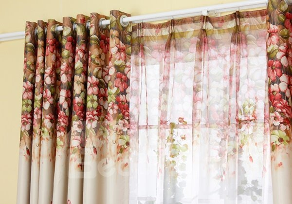 Beautiful Flowers Printing Yellow Shading Cloth & Sheer Curtain Sets