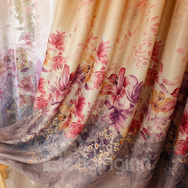 Colored Lily Printing Shading Cloth & Sheer Curtain Sets