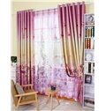 Beautiful Lily Printing Pink Shading Cloth & Sheer Curtain Sets