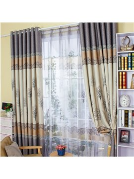 Wonderful Tree Printing Shading Cloth & Sheer Curtain Sets