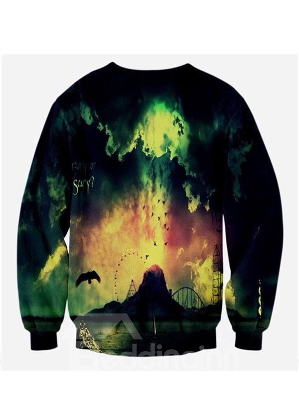Fashion Long Sleeve Abstract Pattern 3D Painted Hoodie
