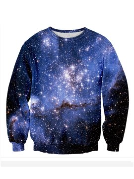 Long Sleeve Blue Galaxy Pattern 3D Painted Hoodie