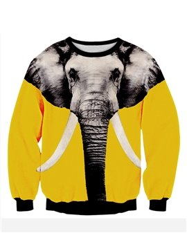 Unqiue Long Sleeve Elephant Pattern Yellow 3D Painted Hoodie