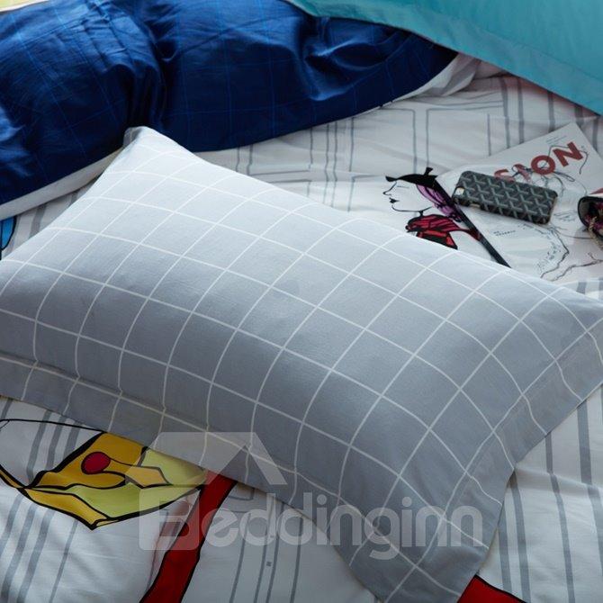 Minimalist Style Fashion Girl Print 4-Piece Cotton Duvet Cover Sets