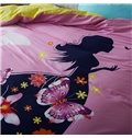 Amazing Girl and Butterfly Print 4-Piece Cotton Duvet Cover Sets