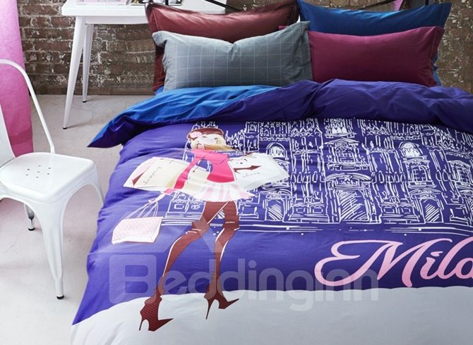 Contemporary Girl Print 4-Piece Cotton Duvet Cover Sets