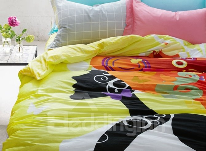 Modern Style Cartoon Girl Print 4-Piece Cotton Duvet Cover Sets