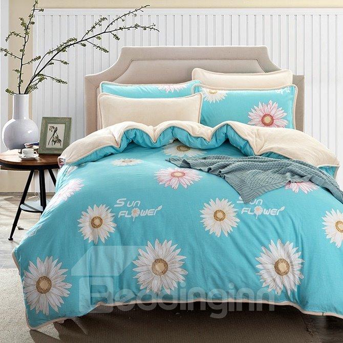 Unique Daisy Print Blue 4-Piece Duvet Cover Sets