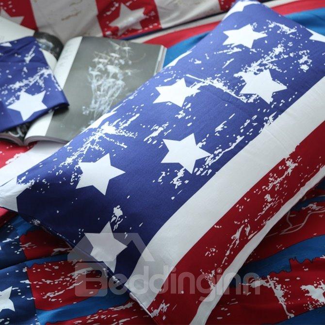 Chic USA Flag Print 4-Piece Cotton Duvet Cover Sets
