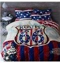 Classic USA Route 66 Print 4-Piece Duvet Cover Sets