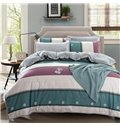 Simple but Fashionable Stripe Print 4-Piece Duvet Cover Sets