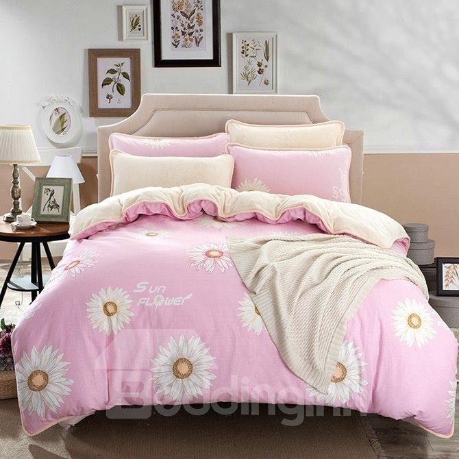 Excellent Daisy Print Pink 4-Piece Duvet Cover Sets