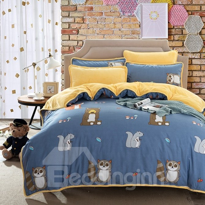Raccoon and Squirrel Print Cotton 4-Piece Bedding Sets/Duvet Cover