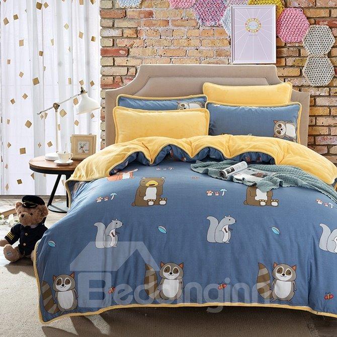 Pretty Cute Raccoon and Squirrel Print 4-Piece Duvet Cover Sets