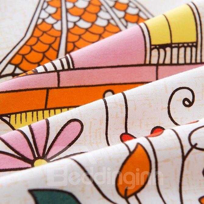 Watercolor-style Floret Print 4-Piece Duvet Cover Sets