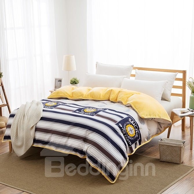 Popular Sailing Theme with Stripe Print 4-Piece Duvet Cover Sets