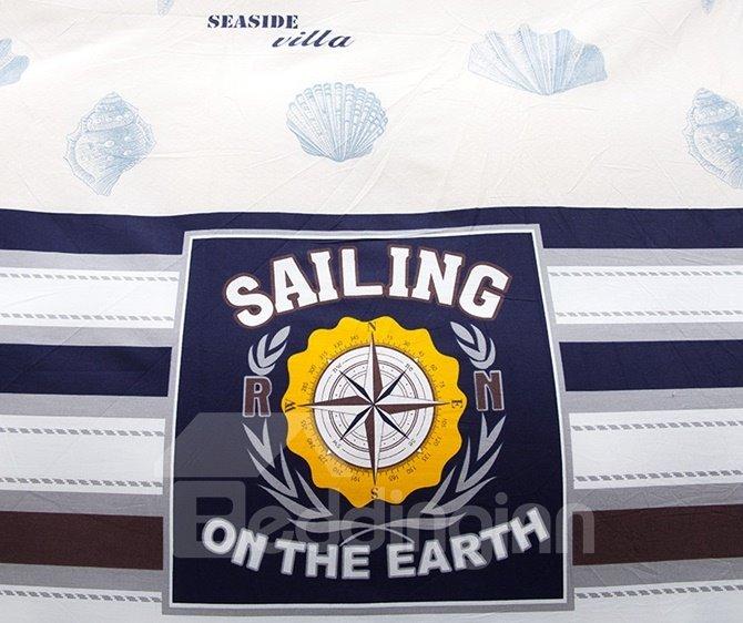 Popular Sailing Theme with Stripe Print 4-Piece Duvet Cover Sets