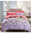 Fresh White Blossom Print Purple 4-Piece Duvet Cover Sets