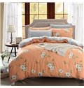 Likable White Blossom Print 4-Piece Duvet Cover Sets
