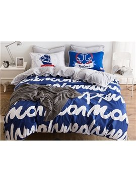 Chic Letter Print Blue 4-Piece Duvet Cover Sets