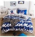 Chic Letter Print Blue 4-Piece Duvet Cover Sets