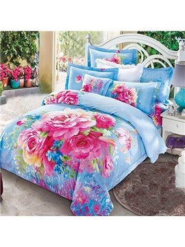 Bright Peony Print Blue Cotton Fitted Sheet
