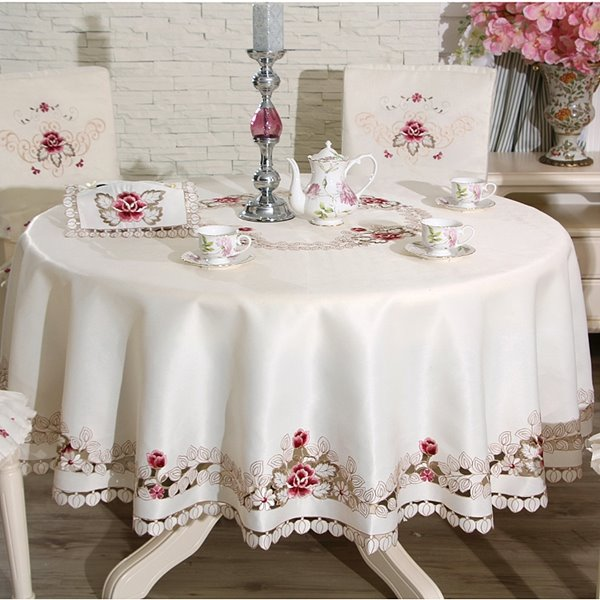 Charming Round Polyester Flower Print Washable Tablecloth