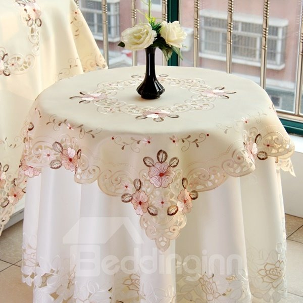 Beige Round Polyester Embroidery Flower Lace Pattern Home Decorative Table Runner