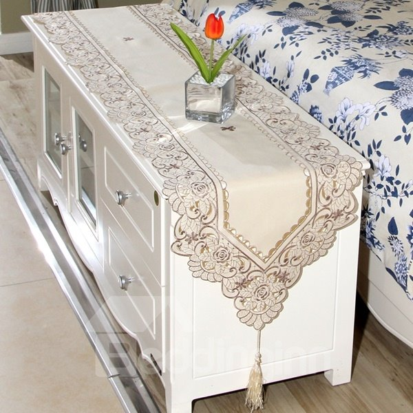 Brown Embroidery Flower Lace Crochet Polyester Dining Table Runner