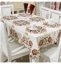 Practical Polyester Embroidery Chrysanthemum Pattern Home Decoration Tablecloth