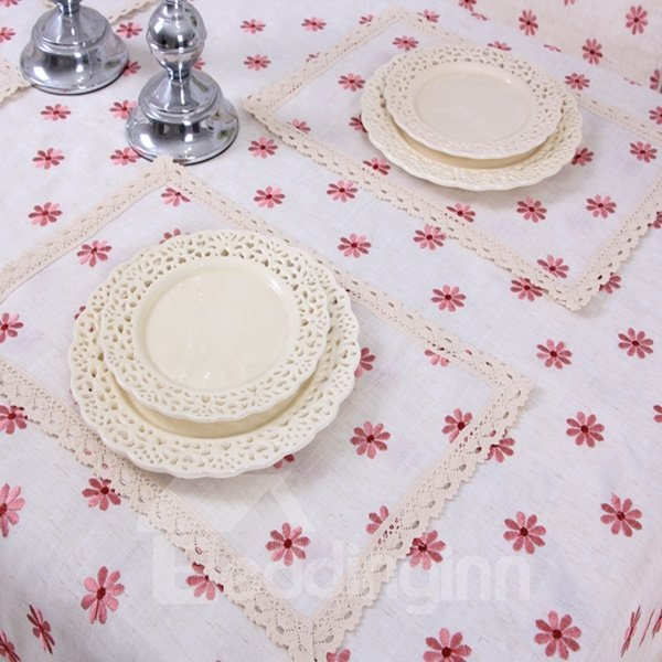 Lovely Polyester Rectangle Shape with Little Flower Pattern Dining Tablecloth