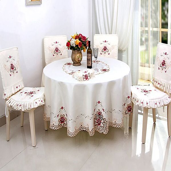 Wonderful Round Polyester Embroidery Flower Lace Crochet Washable Tablecloth