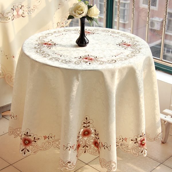 Round Polyester Washable Embroidery Flower Lace Crochet Tablecloth