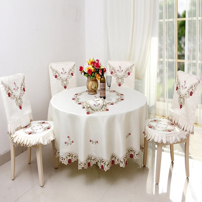 Round Polyester Washable Embroidery Flower Lace Home Decoration Tablecloth