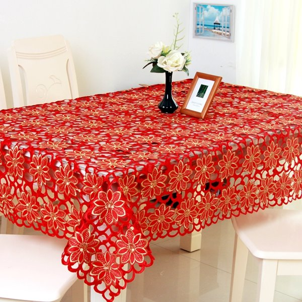 Red Beautiful Flower Pattern Washable Rectangle Dining Room Tablecloth
