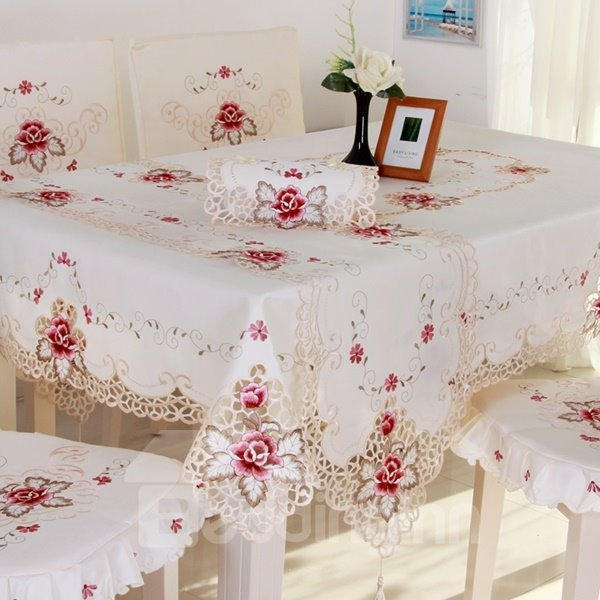 Delicate Rectangle Embroidery Flower Lace Pattern Dining Room Tablecloth