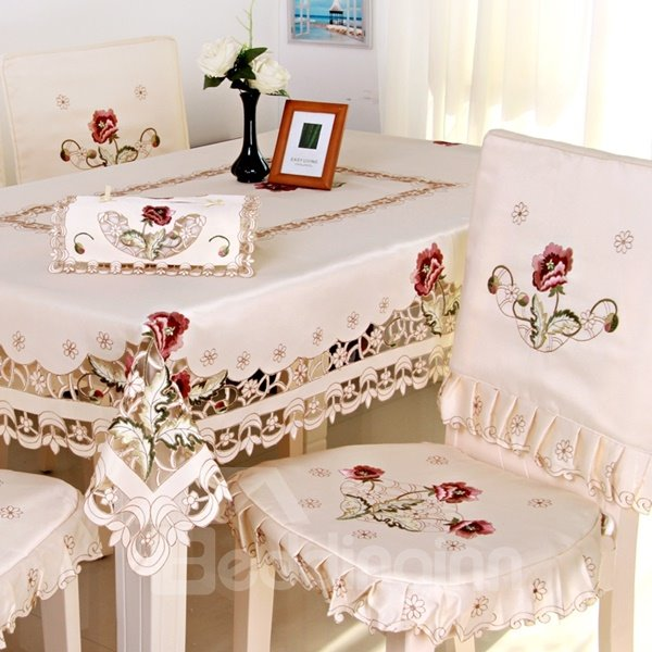 White Elegant Polyester Embroidery Flower Dining Room Decorative 1 Piece Tablecloth