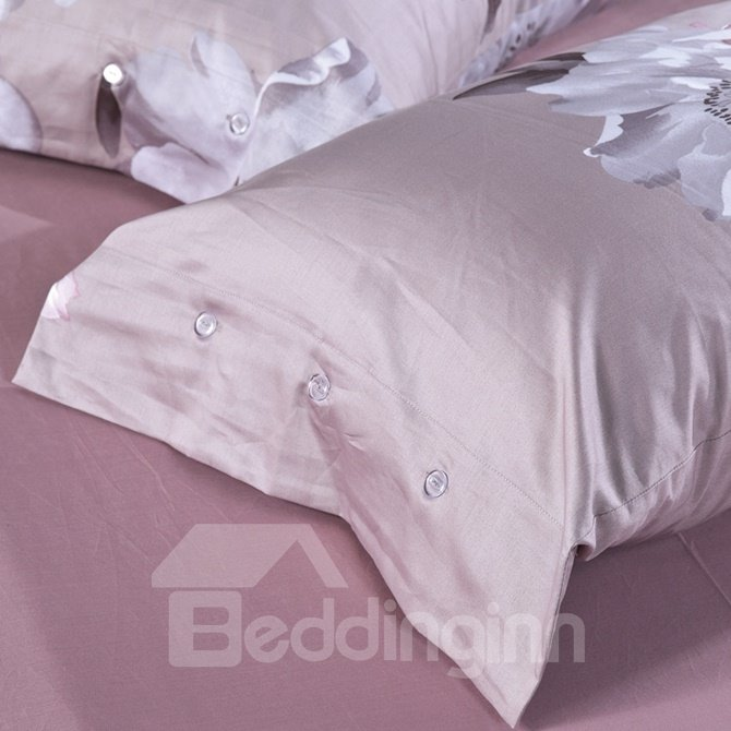 Elegant White Magnolia Print 4-Piece Cotton Duvet Cover Sets