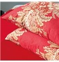 Vintage Style Jacobean Print Red 4-Piece Cotton Duvet Cover Sets