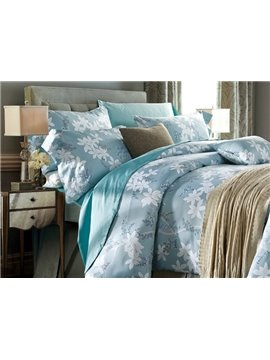 Fancy Noble Leaves Print Blue 4-Piece Cotton Duvet Cover Sets