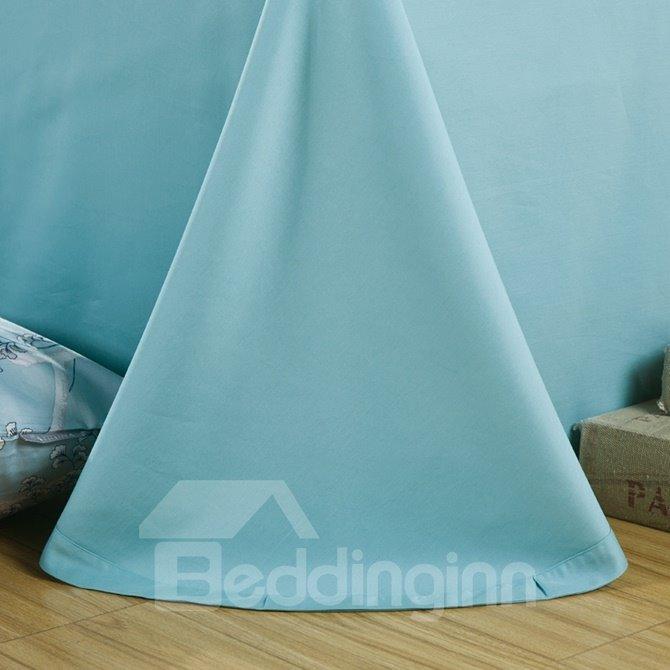 Fancy Noble Leaves Print Blue 4-Piece Cotton Duvet Cover Sets