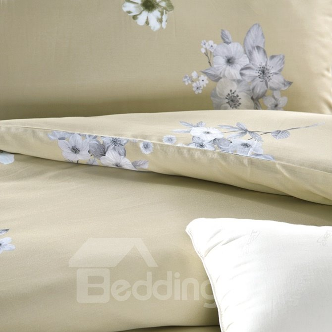 Gorgeous Country Lily Print 4-Piece Cotton Duvet Cover Sets