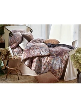 Royal Style Damask Print Long-staple Cotton 4-Piece Duvet Cover Sets