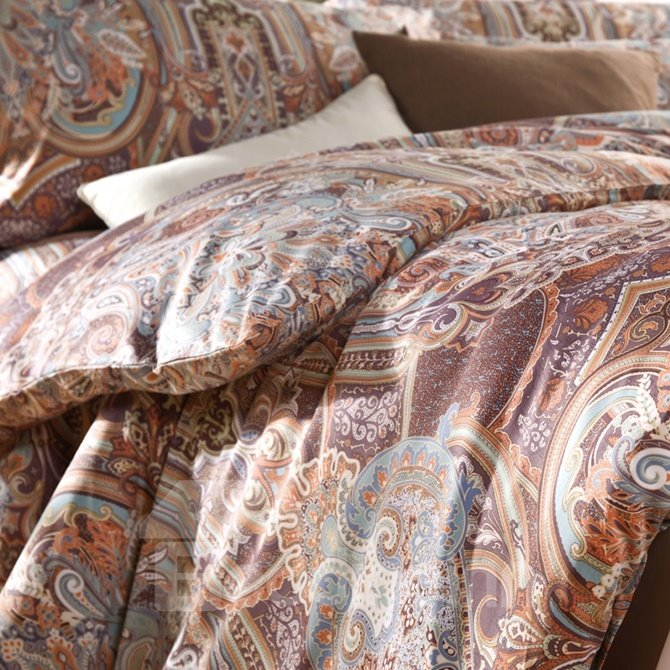 Royal Style Damask Print Long-staple Cotton 4-Piece Duvet Cover Sets
