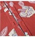 Passionate Red Floral Print Long-staple Cotton 4-Piece Duvet Cover Sets